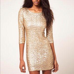 TFNC Gold Sequin Dress